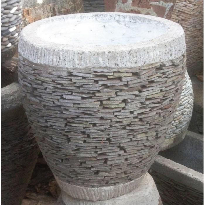 Pot à plantes indonésien artisanal rond