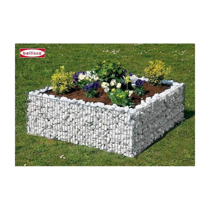 Jardinière carrée en gabion 120 x 120 x 40 cm