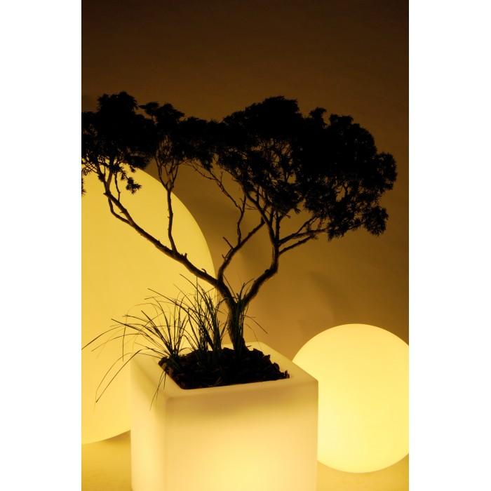 Pot de fleurs lumineux blanc